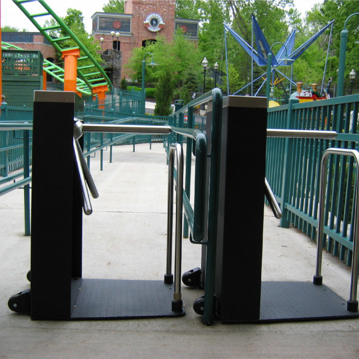 Hayward Turnstiles Security entry tripod systems LC-100, gates Six Flags Amusement Parks subway turnstile, outdoor commercial security access gates, systems manufacturers, suppliers company