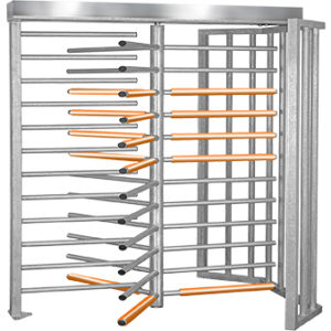 wide passage full height turnstile with three orange safety sleeves for heel protection